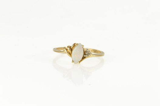 10K Marquise Natural Opal Diamond Accent Yellow Gold Ring, Size 6.5