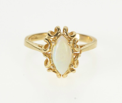 10K Marquise Natural Opal Ornate Engagement Yellow Gold Ring, Size 7