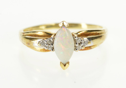10K Marquise Opal Diamond Cluster Accent Yellow Gold Ring, Size 10.25