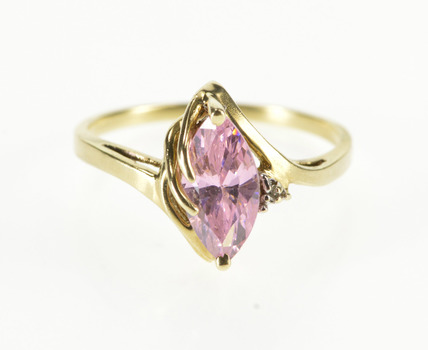 10K Marquise Pink Cubic Zirconia Diamond Accent Yellow Gold Ring, Size 6.25