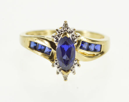 10K Marquise Princess Sapphire* Diamond Accent Yellow Gold Ring, Size 7