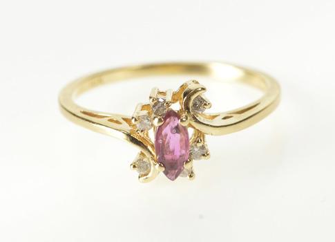 10K Marquise Rubellite Diamond Inset Swirl Bypass Yellow Gold Ring, Size 6