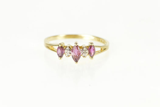 10K Marquise Ruby Diamond Accent Band Yellow Gold Ring, Size 5.5