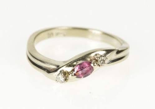 10K Marquise Ruby Diamond Accent Bypass White Gold Ring, Size 6.25
