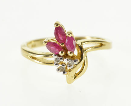 10K Marquise Ruby Diamond Cluster Accent Statement Yellow Gold Ring, Size 6