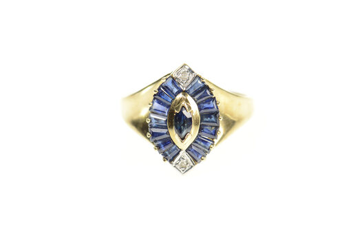 10K Marquise Sapphire Diamond Accent Statement Yellow Gold Ring, Size 6.75