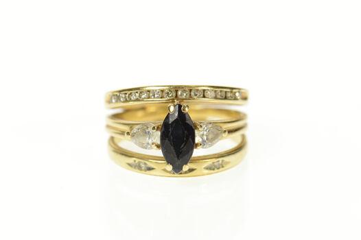 10K Marquise Sapphire Diamond Bridal Set Yellow Gold Ring, Size 7.5