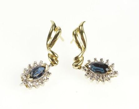 10K Marquise Sapphire Diamond Halo Dangle Yellow Gold Earrings