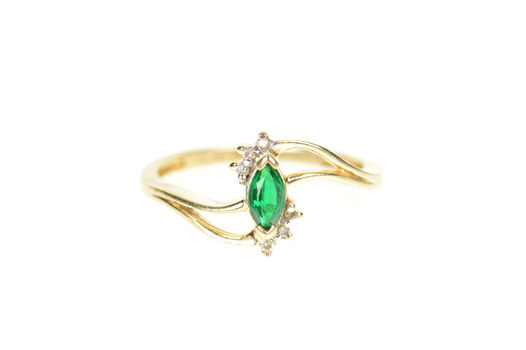 10K Marquise Syn. Emerald Diamond Accent Bypass Yellow Gold Ring, Size 6.5