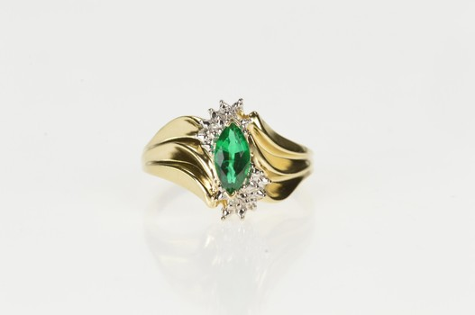 10K Marquise Syn. Emerald Diamond Accent Wavy Yellow Gold Ring, Size 7.25