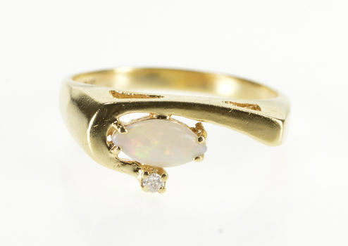10K Marquise Syn. Opal Diamond Accent Wave Yellow Gold Ring, Size 6.5