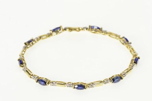 "10K Marquise Syn. Sapphire Diamond Accent Tennis Yellow Gold Bracelet 7.25"""