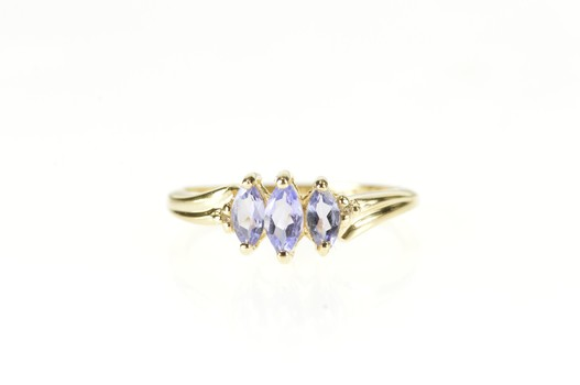 10K Marquise Tanzanite Diamond Accent Statement Yellow Gold Ring, Size 7