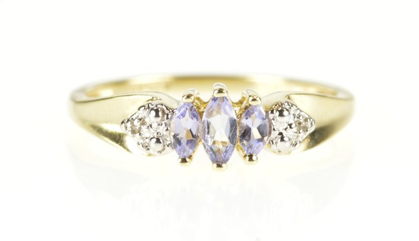 10K Marquise Tanzanite Diamond Statement Band Yellow Gold Ring, Size 7