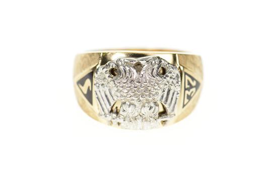 10K Masonic Eagle 32nd Degree Mason Men's Yellow Gold Ring, Size 9.25