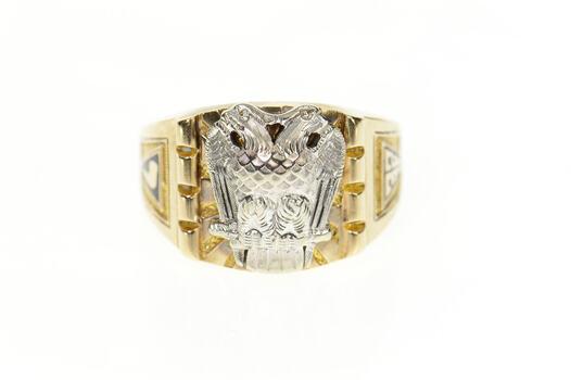 10K Masonic Eagle 32nd Degree Mason Men's Yellow Gold Ring, Size 9.75