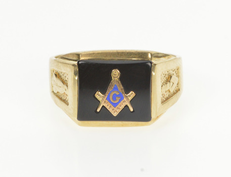 10K Masonic Symbol Black Onyx Inlay Men's Signet Yellow Gold Ring, Size 10