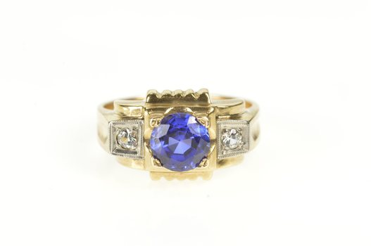 10K Men's 1940's Syn. Sapphire CZ Statement Yellow Gold Ring, Size 9.75
