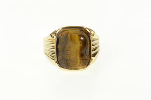 10K Men's 1960's Carved Tiger's Eye Cameo Yellow Gold Ring, Size 10