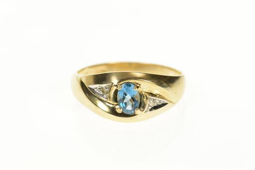 10K Men's Blue Topaz Diamond Accent Statement Yellow Gold Ring, Size 5.5