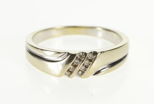 10K Men's Channel Diagonal Channel Wedding Band White Gold Ring, Size 9.75