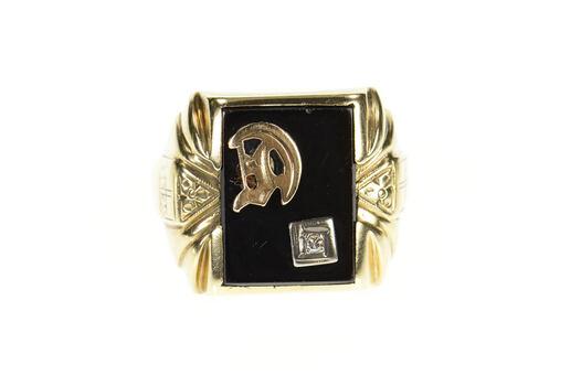 10K Men's D Monogram Black Onyx Diamond Yellow Gold Ring, Size 11.75