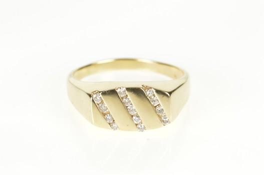 10K Men's Diamond Striped Channel Wedding Band Yellow Gold Ring, Size 12.75