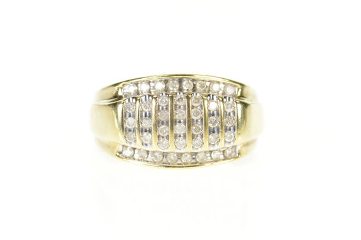 10K Men's Diamond Striped Channel Wedding Yellow Gold Ring, Size 10.75