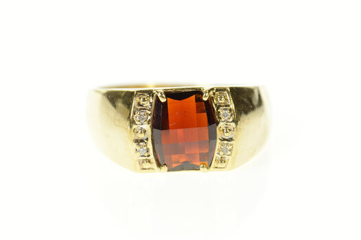 10K Men's Faceted Garnet Diamond Accent Yellow Gold Ring, Size 13.25