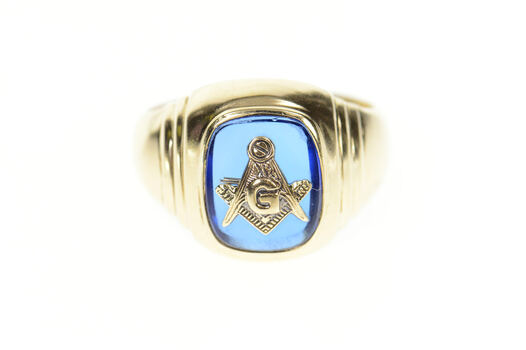 10K Men's Masonic Symbol Emblem Syn. Sapphire Yellow Gold Ring, Size 9.75