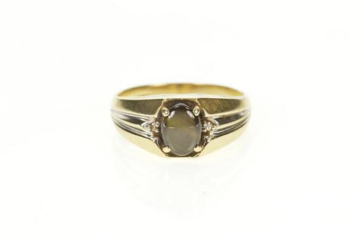 10K Men's Oval Black Star Sapphire Diamond Accent Yellow Gold Ring, Size 9.75