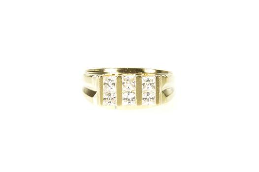 10K Men's Princess Squared Statement Wedding Yellow Gold Ring, Size 10