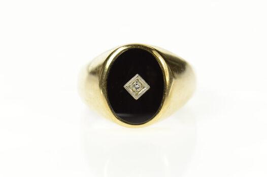 10K Men's Retro Black Onyx Diamond Statement Yellow Gold Ring, Size 11.75