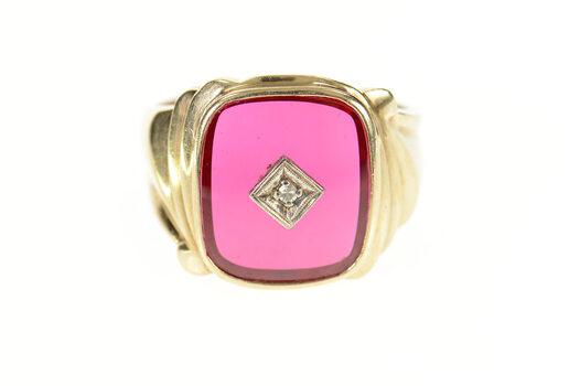 10K Men's Retro Syn. Ruby Diamond Statement Yellow Gold Ring, Size 11.5