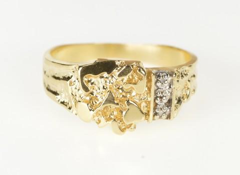 10K Men's Retro Textured Nugget Diamond Inset Yellow Gold Ring, Size 10.25