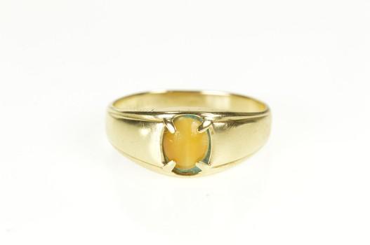 10K Men's Retro Tiger's Eye Cabochon Band Yellow Gold Ring, Size 10