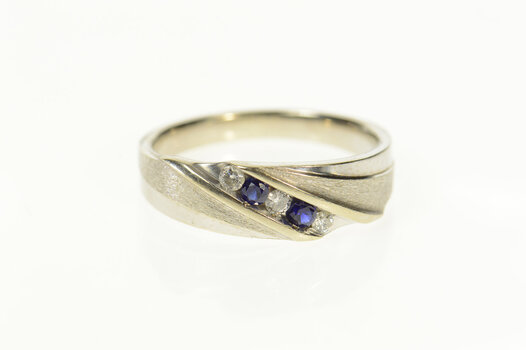10K Men's Sapphire Diamond Classic Wedding Band White Gold Ring, Size 10.25