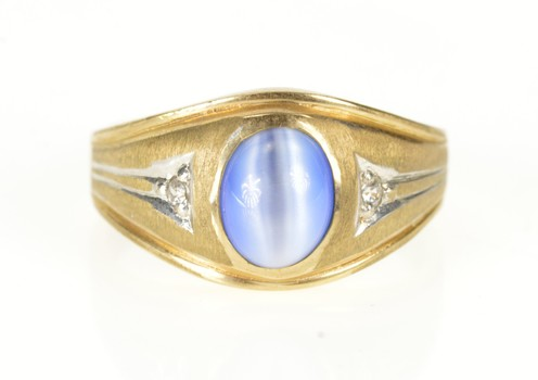 10K Men's Sim. Blue Cat's Eye Cubic Zirconia Yellow Gold Ring, Size 10.25