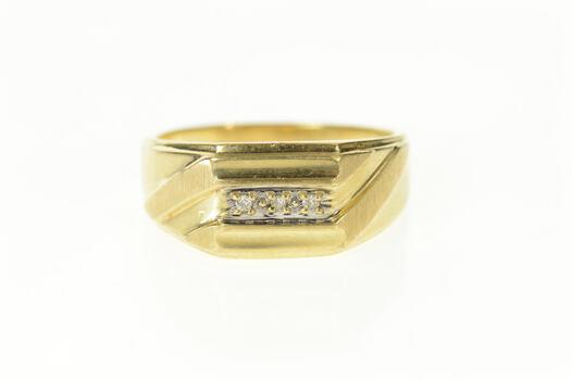 10K Men's Squared Diamond Graduated Wedding Yellow Gold Ring, Size 10