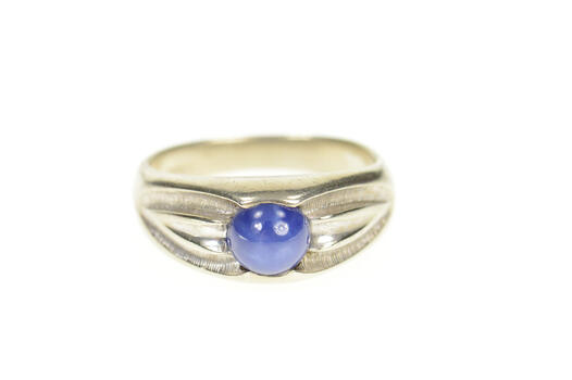 10K Men's Syn. Blue Star Sapphire Simple White Gold Ring, Size 9.5