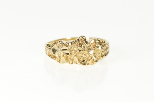 10K Men's Textured Raw Nugget Statement Band Yellow Gold Ring, Size 10.25