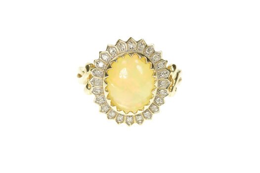 10K Mexican Fire Opal Ornate Diamond Halo Cocktail Yellow Gold Ring, Size 7