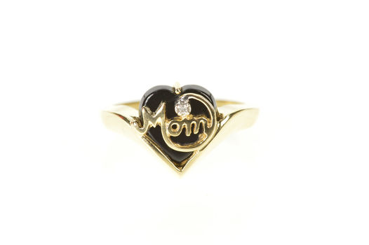 10K Mom Black Onyx Heart Diamond Mother's Day Yellow Gold Ring, Size 5