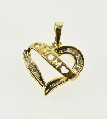 10K Mom Cut Out Banner Diamond Inset Wavy Heart Yellow Gold Pendant