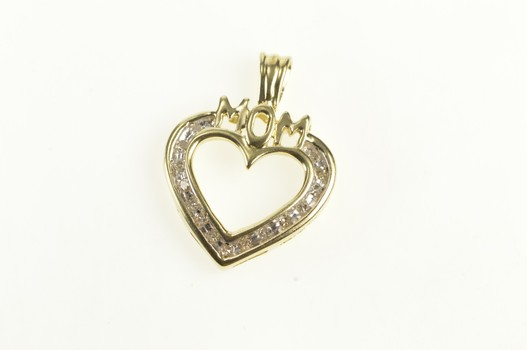 10K Mom Heart Love Mother's Day Gift Yellow Gold Pendant