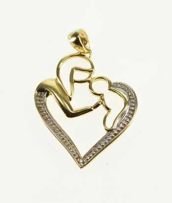 10K Mother Child Abstract Silhouette Heart Yellow Gold Charm/Pendant
