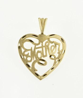 10K Mother Mom Cursive Word Heart Yellow Gold Pendant