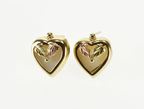 10K Mother of Pearl Inlay Heart Leaf Accent Stud Yellow Gold EarRings