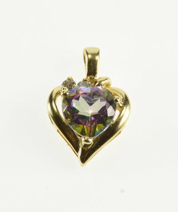 10K Mystic Topaz Heart Diamond Accented Yellow Gold Pendant
