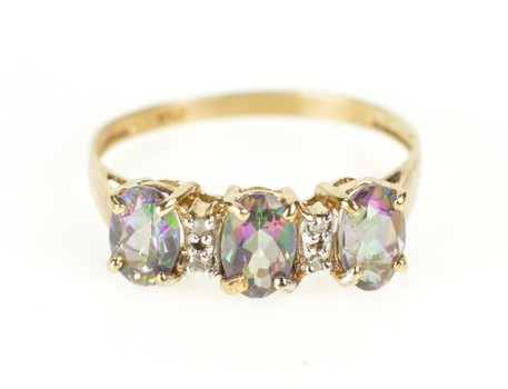 10K Mystic Topaz Three Stone Diamond Accent Yellow Gold Ring, Size 7